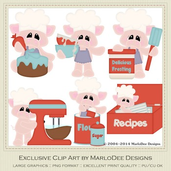 Bacon a Cake Pigs Clip Art Graphics