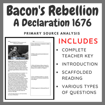 "Bacon's Rebellion ""The Declaration 1676"" Primary Source Analysis"