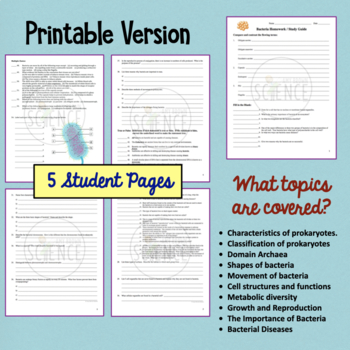 Bacteria and Prokaryotes Homework and Study Guide