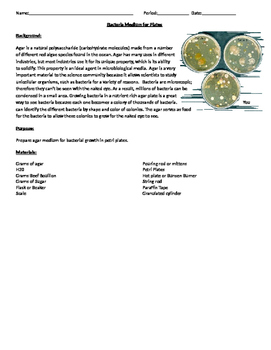 Bacteria Medium for Plates and Bacteria Exposure Plates Labs