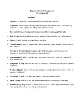 Bacteria Research Assignment