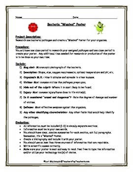 cells bacteria wanted poster project by lori maldonado tpt. Black Bedroom Furniture Sets. Home Design Ideas