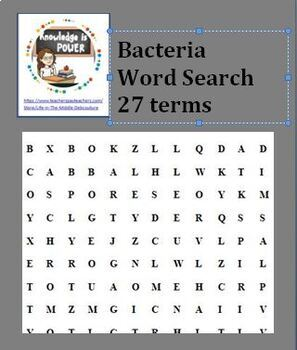Bacteria Word search (27 terms)