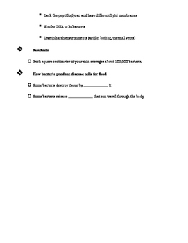 Bacteria and Virus Notes (fill in blanks, with answers)