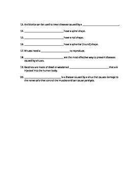 Bacteria and Virus Quiz Editable