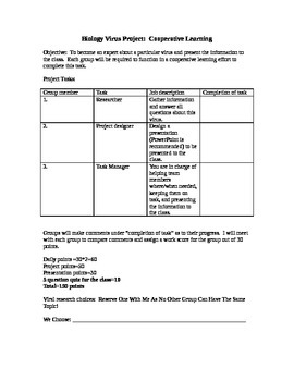 Bacteria and Virus Research Project with Rubric