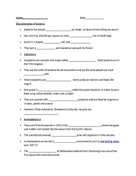 Bacteria powerpoint worksheet and answer key
