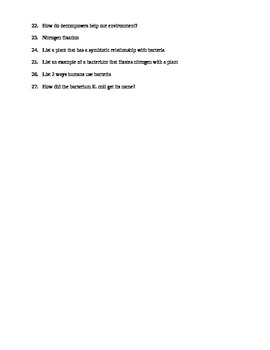 Bacteria worksheet
