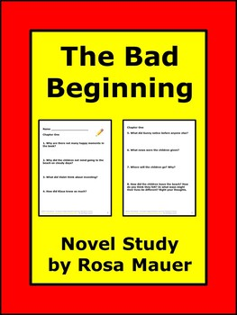 Bad Beginning Book #1 Literacy Unit