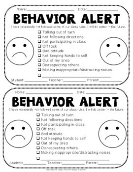 Behavior Alert and Behavior Praise with FREE Apology Letter TpT
