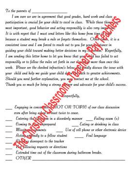 Bad Behavior Or Unacceptable/Poor School Work Letter Home to Parents
