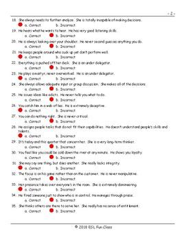 Bad Bosses Correct-Incorrect Exam