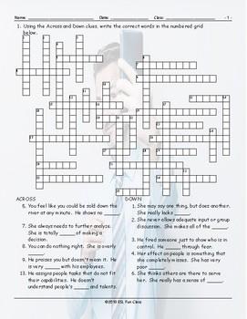 Bad Bosses Crossword Puzzle