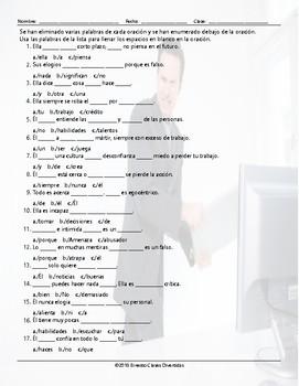 Bad Bosses are Bad Business Missing Words Spanish Worksheet