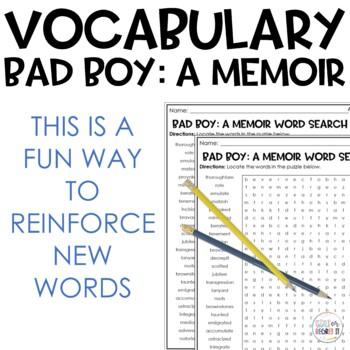 Bad Boy: A Memoir Vocabulary Word Search Puzzle