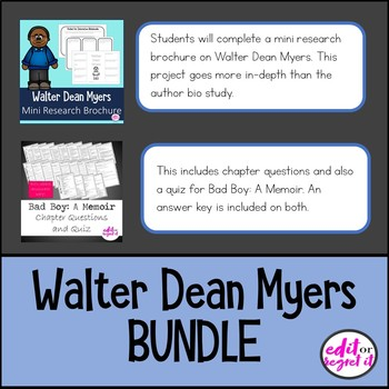 Walter Dean Myers Bad Boy A Memoir BUNDLE