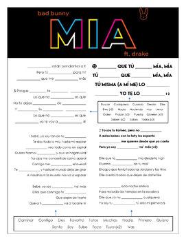 Bad Bunny & Drake - 'MIA' Cloze Song Sheet! Spanish!