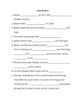Bad Buster Comprehension Packet