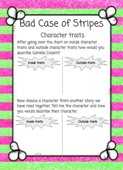 Bad Case of Stripes 10 reading/language study activities- little/no prep.
