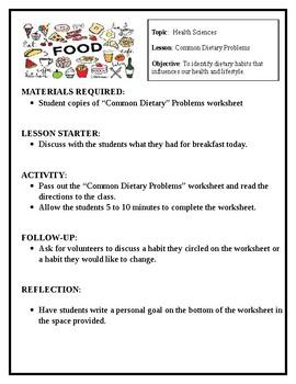 Bad Dietary habits lesson