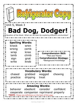 Bad Dog, Dodger! -Reading Street (2013) 2nd Grade Unit 5 Week 3