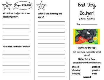 Bad Dog Dodger Trifold - Reading Street 2nd Grade Unit 5 Week 3