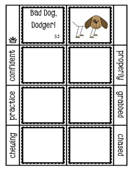 Bad Dog, Dodger! vocabulary flap book