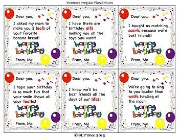 Bad Grammar Birthday Cards: Irregular Plurals