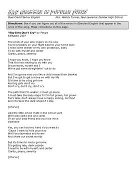 Bad Grammar in Songs_Pronoun Antecedent Agreement