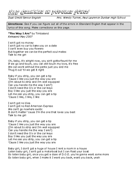 Bad Grammar in Songs_Subject Verb Agreement