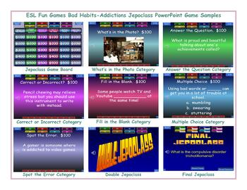 Bad Habits-Addictions Jeopardy PowerPoint Game