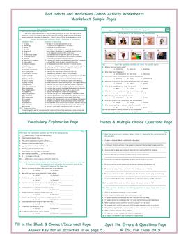Bad Habits and Addictions Combo Activity Worksheets