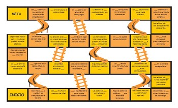 Bad Habits and Addictions Spanish Slides and Stairs Board Game