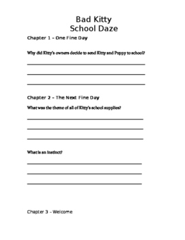 Bad Kitty School Daze Comprehension Packet