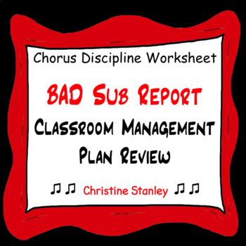 Chorus Bad Sub Report Behavior Review Worksheet (Editable)