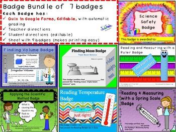 Science Process Skills with google forms quiz: Badge Bundle