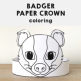 Badger Paper Crown - Printable Woodland Animal Forest Coloring Craft Activity