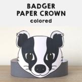 Badger Paper Crown - Printable Woodland Animal Forest Craft Activity for Kids