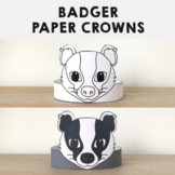 Badger Paper Crowns - Printable Woodland Animal Forest Coloring Craft Activity