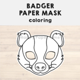 Badger Paper Mask - Printable Woodland Forest Animal Coloring Craft Activity