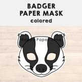 Badger Paper Mask - Printable Woodland Forest Animal Craft Activity Costume
