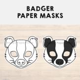 Badger Paper Masks - Printable Woodland Forest Animal Coloring Craft Activity