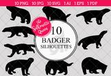 Badger Silhouettes Clipart Clip Art (AI, EPS, SVGs, JPGs,