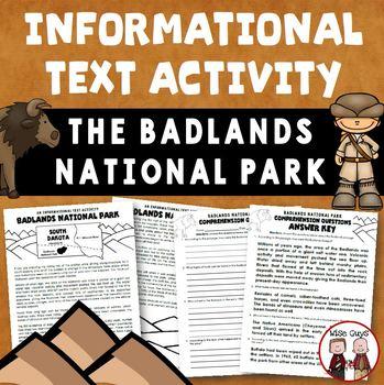 Badlands of South Dakota Informational Text Activity