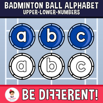 Badminton Ball Alphabet Clipart Letters ENG.-SPAN. (Upper-Lower-Numb.)