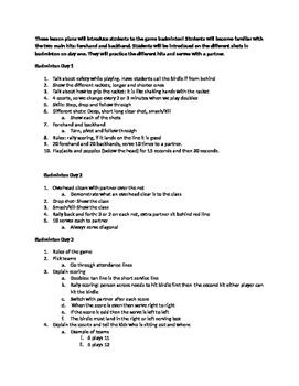 Badminton Lesson plans