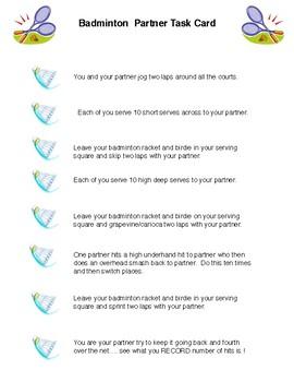 Badminton Partner Task Card