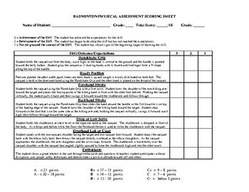 Badminton Skills Physical Assessment