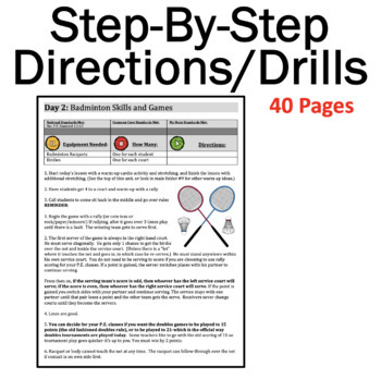 Badminton Unit FREE!: 1-2 Weeks of P.E. Lessons for 6th -12th Grade