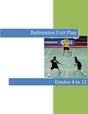 Badminton Unit - Grade 2 to 12